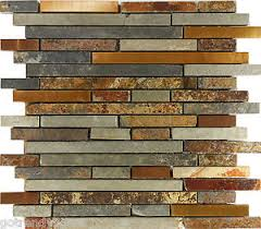10sf rustic copper linear natural slate blend mosaic tile kitchen