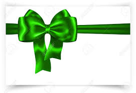 green ribbon and bow for festive decorations gift card royalty