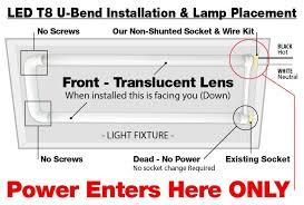bulk led t8 u bend 18watt frosted lens 2 lamp complete retrofit