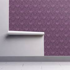 Purple Damask Wallpaper by Purple Heart Damask Wallpaper Mystikel Spoonflower