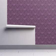 Purple Damask Wallpaper by Purple Heart Damask Wallpaper Mystikel Spoonflower