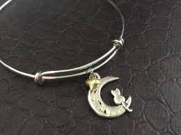 cat on the moon with gold charm bracelet expandable adjustable