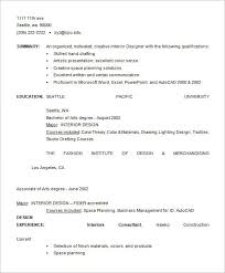 Interior Designer Resume Fashion Designer Resume Template U2013 9 Free Samples Examples