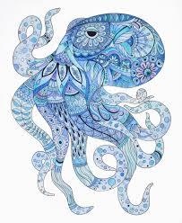 octopus art octopus zentangle octopus wall art blue art home