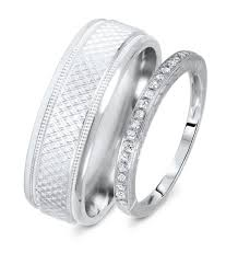 wedding bands sets his and hers 1 8 carat t w rounds cut diamond his and hers wedding band set