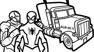 spiderman and iron man with truck coloring book coloring pages