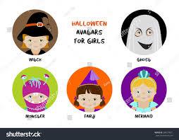 Cute Halloween Monster by Vector Set Round Halloween Avatars Kids Stock Vector 504319021