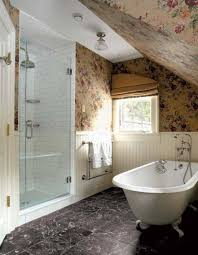 bathroom attic design with built in walk in tub and floral
