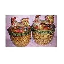 basket weave rooster canisters cookie jars canister set vintage