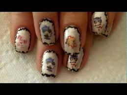 tutorial nail art one direction tip to transfer printed images one direction with border nail art