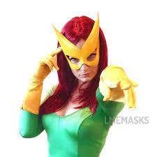 Phoenix Halloween Costume Leather Mask Yellow Gold Jean Grey Marvel Men Phoenix