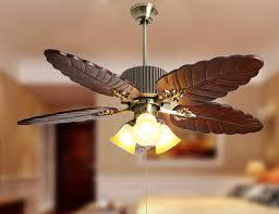 leaf ceiling fan with light modern american style wood palm leaf ceiling fan light living room