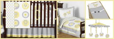 grey and yellow flower and butterfly baby bedding