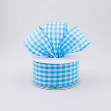 blue gingham ribbon 1 5 gingham check wired ribbon turquoise blue white 10 yards
