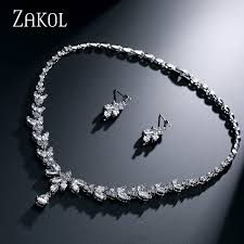 simple diamond set zakol simple fashion leaves earrings sliver color necklace