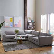 West Elm Sectional Sofa 3 L Shaped Sectional Heathered Tweed West Elm
