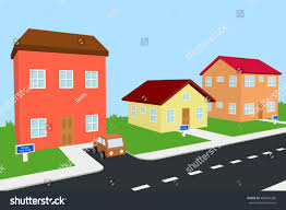 one small house two big houses stock illustration 480945286