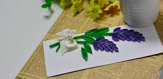 how to make a lavender greeting card with quilling paper