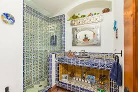 mexican tile bathroom designs mediterranean 3 4 bathroom with drop in sink high ceiling in