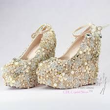 Wedding Shoes Luxury Custom Design Goldwedge Wedding Shoes Luxury Wedges For Bridal