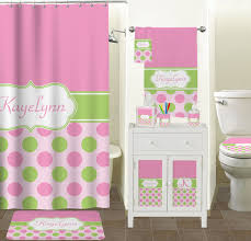 Bathroom Accessory Sets With Shower Curtain by Pink U0026 Green Dots Bathroom Accessories Set Ceramic Personalized