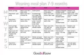 baby food meal planner 7 9 months goodtoknow