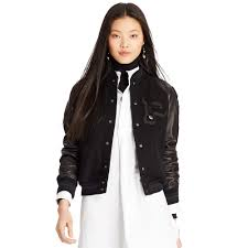 polo ralph lauren leather sleeved jacket in black lyst
