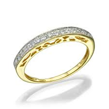 14k yellow gold ring inlaid with 17 diamonds 0 01 ct tcw 0 17