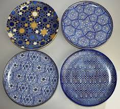 hanukkah plates new in box williams sonoma blue mosaic hanukkah salad plates set