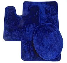 Navy Bath Mat Royal Plush Collection 3 Bathroom Rug Set Bath