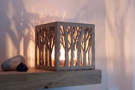 wooden candle holder christmas tealight lantern rustic