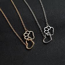gold dog pendant necklace images Linked heart and dog paw pendant necklace gold and silver blitz jpg