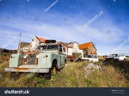 auto junkyard germany car junkyard farm iceland run down stock photo 384360622