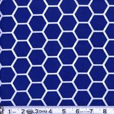 royal blue cotton fabric pattern fabric honeycomb pattern white on royal