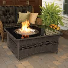 Outdoor Gas Fire Pit Shop Outdoor Greatroom Company 48 In W 60000 Btu Mocha Wicker