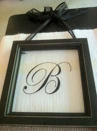 a wee meenit monogram vinyl letter behind glass frame