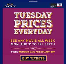 cineplex online cineplex announces half price movies in week before school returns