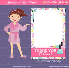sleepover party invites spa party thank you card sleepover makeover spa day thank