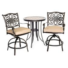 Bistro Set Outdoor Bar Height cast aluminum brown outdoor bistro bar set hayneedle