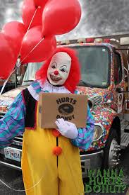 where can i rent a clown for a birthday party hurts donuts is offering creepy clown delivery