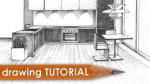 drawing tutorial room in one point perspective kitchen youtube