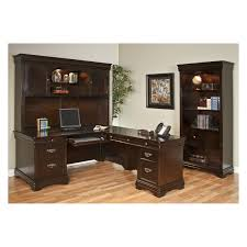 l shaped dark brown wooden desk with drawers on brown wooden floor