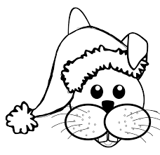 rabbit 1 face cartoon santa hat black white line coloring sheet