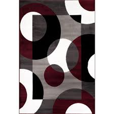 Black Grey And White Area Rugs World Rug Gallery Modern Circles Burgundy 3 Ft 3 In X 5 Ft