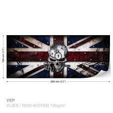 wall mural alchemy skull union jack tattoo xxl photo wallpaper wall mural alchemy skull union jack tattoo xxl