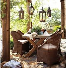 Rustic Backyard Ideas An Outdoor Dining Area With Lantern Pendant Lighting Fixtures In A