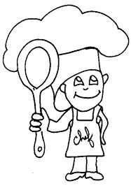 coloriage petit chef cuisinier  Tête à modeler