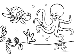 free sea coloring pages print kids water