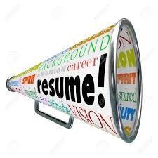 the word resume the word resume on a bullhorn or megaphone to sell or communicate