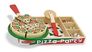 amazon com melissa u0026 doug pizza party wooden play food set with